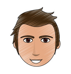 Color pencil cartoon front face man with hairstyle vector