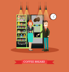 coffee break in flat style vector image