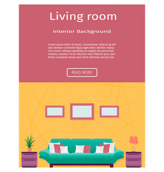 Living room interior banner in bright colors for vector