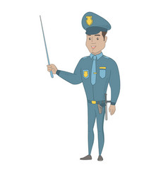 Young hispanic policeman holding a pointer stick vector