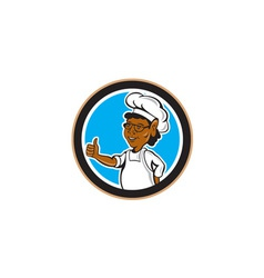 African American Chef Cook Thumbs Up Circle vector image