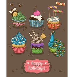Set of party cupcakes with different toppings vector