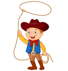 Cowboy kid twirling a lasso vector