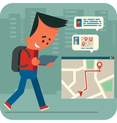 Cartoon young man traveling and online chatting vector