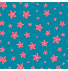 Christmas seamless pattern with red stars vector