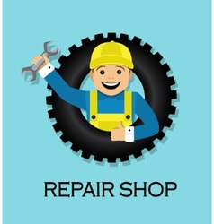 Emblem repair shop vector