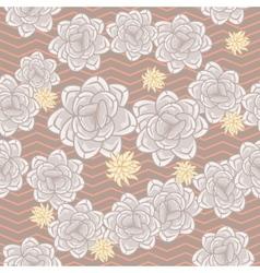 Coffee beige echeveria roses and chevron seamless vector image