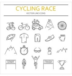 Set of 20 cycling race modern linear icons vector