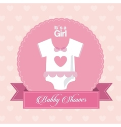 Baby shower design cloth icon pink vector