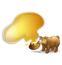 A brown bear and a pot of honey vector image vector image