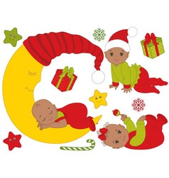 African American Christmas Babies Set vector image