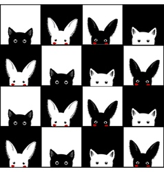 Black white cat rabbit chess board background vector