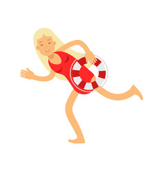 Blonde lifeguard girl character in a red swimsuit vector