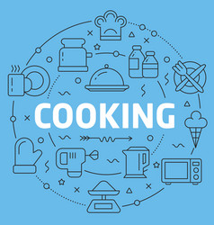 Blue line flat circle cooking vector