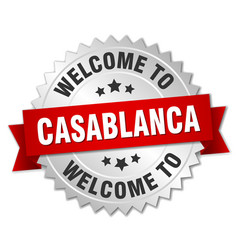 Casablanca 3d silver badge with red ribbon vector
