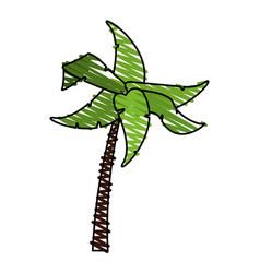 Color crayon stripe tropical palm tree vector