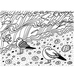 coloring page with seagull and sea vector image