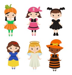 Cute cartoon children in colorful halloween vector