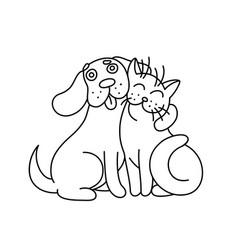 cute dog hugs cat vector image