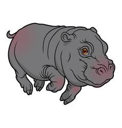 Cute naturalistic hippopotamus vector