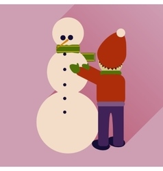 Flat icon with long shadow child and snowman vector