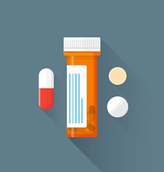 flat pharmacy drugs pills icon vector image vector image