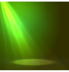 Floodlight spotlight illuminates wooden scene vector image
