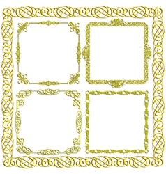 gold decorative frames set vector image