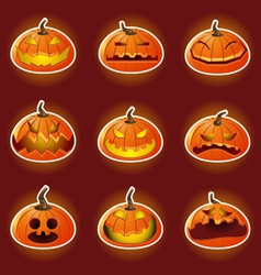 Halloween Pumpkin Character Emoticon Icons vector image vector image