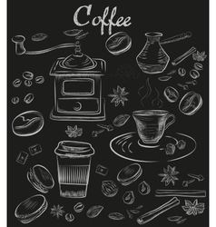 Hand-drawn chalk blackboard decorative coffee vector image vector image