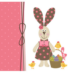 Happy easter greeting card with bunny girl vector