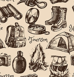 Hike and camping tourism hand drawn vintage vector image vector image