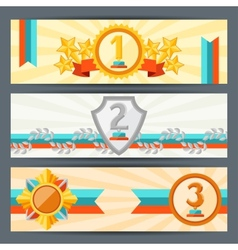 Horizontal banners with trophies and awards vector image vector image