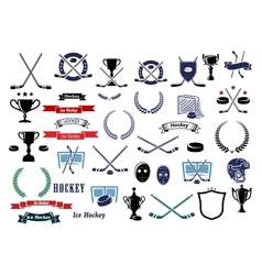 Ice hockey sport game icons and elements vector