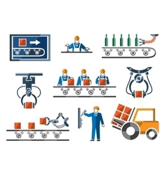 Industrial and engineering icons set in flat vector