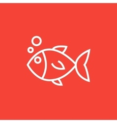 Little fish under water line icon vector