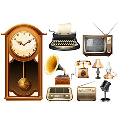 Many kind of antique electornic devices vector image vector image