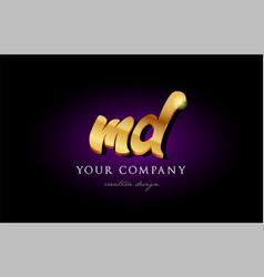 md m d 3d gold golden alphabet letter metal logo vector image