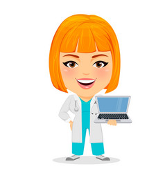 Medical doctor woman with laptop funny cartoon vector