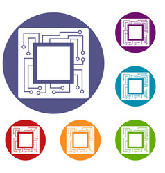 Microchip icons set vector