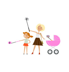 mother daughter and baby in pram all make selfie vector image vector image