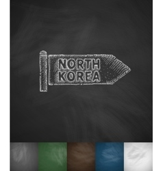 NORTH KOREA icon Hand drawn vector image