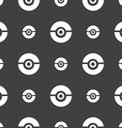 pokeball icon sign Seamless pattern on a gray vector image vector image