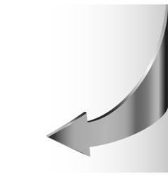 Silver metal arrow points backward vector image vector image