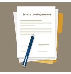 Sla service level agreement document pen paper vector