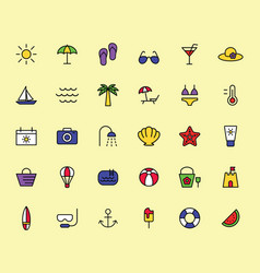 summer travel holiday and beach icons set vector image vector image