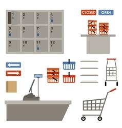 Supermarket equipment vector