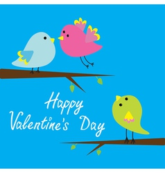 Three cartoon birds Happy Valentines Day card vector image