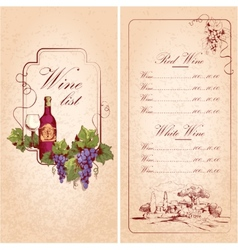 Wine list template vector