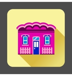 Purple cottage icon flat style vector